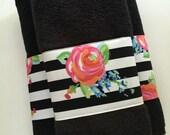 Black Towel, hand towels, bath towels, custom towel, black stripe, pink and black, bathroom, bathroom, pink, towel, black white stripe, rose