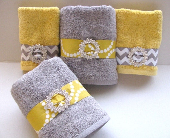 you pick custom bling yellow and gray towels custom grey and. Black Bedroom Furniture Sets. Home Design Ideas