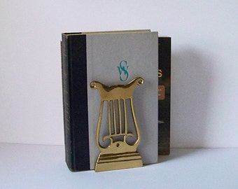 Vintage Brass Harp Bookends / Musical Home Decor/ Office / Library
