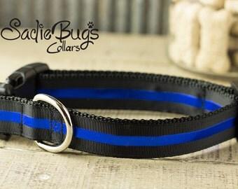 Blue Line Dog Collar - Police Memorial dog collar