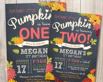 Little Pumpkin Birthday Invitation. DIY card. Digital Printable card