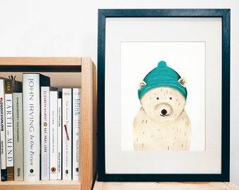 PRINT of original art - Polarbear - handpainted animal character - kids print - nursery print - print of a gouache painting