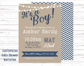 Printable Baby Boy Shower invitation. Craft paper looking background with navy blue and white. String of lights. Blue chevron back.