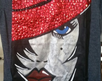 Hand painted and embellished women's tees