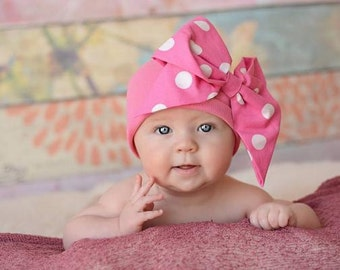 Bow-Rae-Mi Cotton Hat - Baby Girl Bow Hat - Baby Bow Hat - Bow Hat - Baby - Bow Beanie - Newborn Bow Hat - Infant Bow Hat - Newborn - Bow