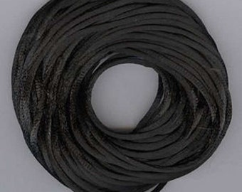 Satin Rattail Cord - Black 2mm cord - Minimum Three (3) Metres - Jewellery Shamballa Macrame Beading kumihimo Stringing Knotting Cord Thong