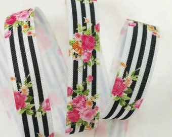 5/8 Pink Floral Bouquet with Black Stripes Fold Over Elastic