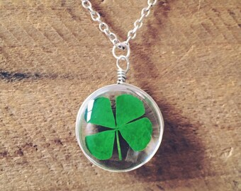 REAL Four Leaf Clover Necklace - Shamrock, lucky gift, luck, handmade, OOAK, clovers, Kitschy Koo Design
