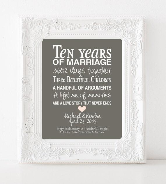 10th Wedding Anniversary Gift List : 10th wedding anniversary gift - personalised anniversary print ...