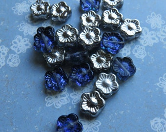 Blue Glass with Silver Coating Czech Glass 5 Petal Flowers, 12 Beads- Item 3390