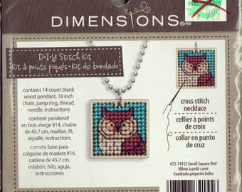 HOOT OWL Counted Cross Stitch WOOD Necklace Kit Dimensions New Sealed Wood Pendant