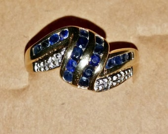14K Gold Blue Saphire and Diamond Ring