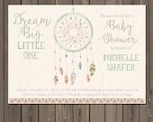 Dream Catcher Baby Shower Invitation, Tribal Boho Shower Invite, Feather Baby Shower, Bohemian Themed Invitation, Gender neutral