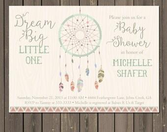Dreamcatcher Baby Shower Invitation, Tribal Boho Shower Invite, Feather Baby Shower, Bohemian Themed Invitation, Gender neutral