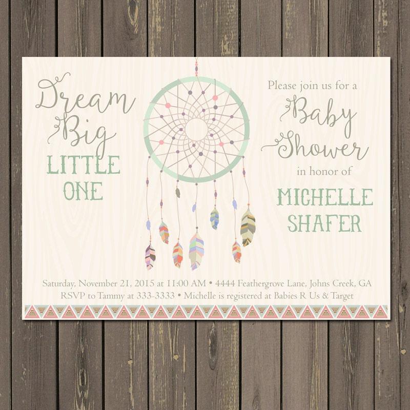Dream Catcher Baby Shower Invitation Tribal Boho Shower