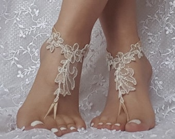 crystalline shining beige ivory lace barefoot, anklet, Beach wedding barefoot sandals, bangle, wedding anklet, free ship, anklet, bridal,