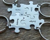 Customized Puzzle Piece Key Chain Personalized with Names  best friends sorority sisters key chain