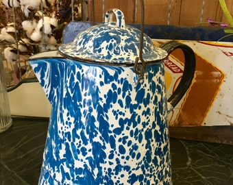 Vintage Large Blue Granite Ware Coffee Pot w/Bail Handle