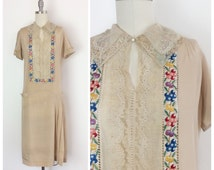 30s Embroidered Floral Silk Dress / 1930s Vintage Hungarian Folk Peasant Tunic / XS - Small
