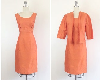 50s Orange Raw Silk Wiggle Dress / 1950s Vintage Bow Front Bombshell Party Dress With Matching Jacket / Medium / Size 6