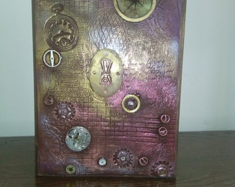 Altered book box steampunk mixed media polymer clay