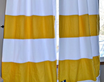 1 Pair Yellow And White Striped Curtains, Window Treatments, Nautical, Home  Decor,