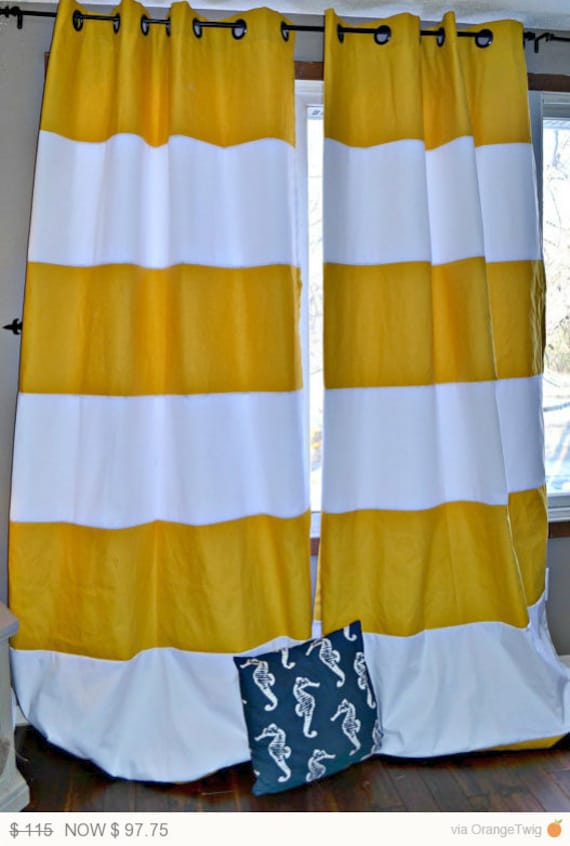 1 pair yellow and white striped curtains by frostinghomedecor