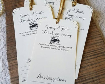 Set of 12 Anniversary Party Memory Cards / Wishing Tree Tags / Anniversary Party Idea / Anniversary Cards 50th Anniversary 25th Anniversary