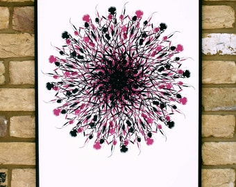 Contemporary wildflower screen print, limited edition print, screen print poster, pink and black, 50 x 70cm artwork