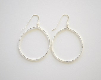 Silver Czech Glass Beaded Circle Earrings