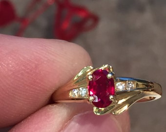 ruby and diamond 14k gold ring