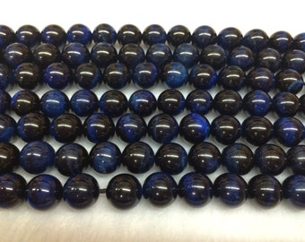 8mm Round Tigereye Beads Genuine Blue Dyed 15''L 38cm Loose Beads Semiprecious Gemstone Bead   Supply
