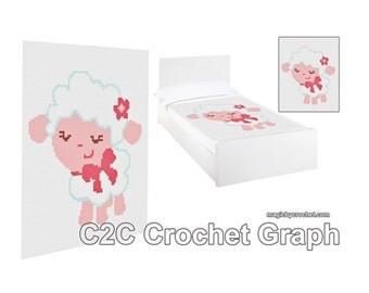 C2C crochet Graph, Baby Lamb PDF Chart, Instant Download, No.064