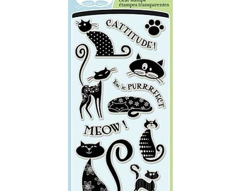 Inkadinkado Clear Acrylic Stamp Set - CATTITUDE cat Stamp set - cats Acrylic cc02