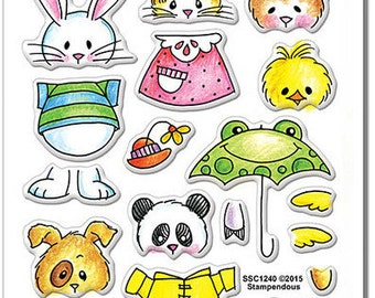 Stampendous SPRING SHORT STACK Clear stamp set acrylic Bunny Panda Bear Chick Sheep cc02