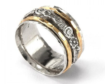 Silver Spinning Ring with Goldfilled bands