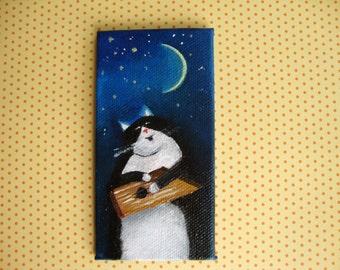 Lullaby/ MINIATURE acrylic painting/ 10x5 cm/ Tiny original artwork