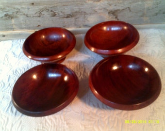 Four Vintage Wooden Salad Bowls, Individual Salad Bowls, Small Wooden Bowls, Vintage Salad Bowls