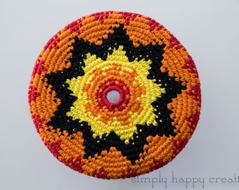 """Cotton Crochet Pocket Flying Disk Toy in Yellow/Orange/Red--8.5"""""""