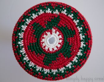 """Cotton Crochet Pocket Flying Disk Toy in Christmas Red/Green/White--7.5"""""""
