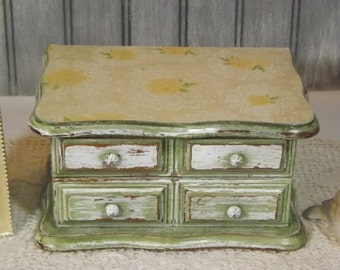 Vintage Upcycled Jewelry Box/Moss Green Decoupaged Jewelry Storage/Distressed Shabby Chic