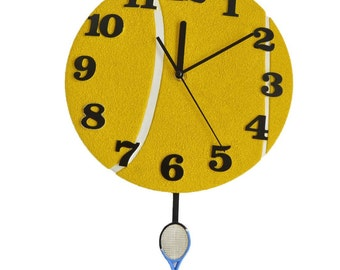 Pendulum Round Wall Clocks with Tennis Racket