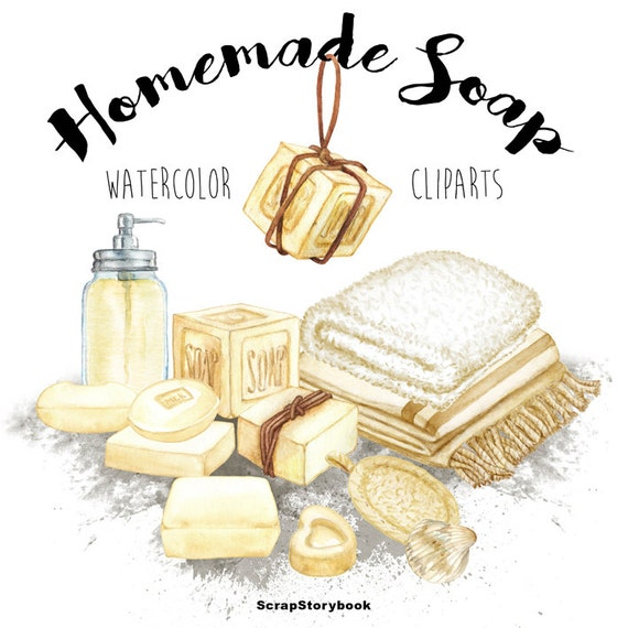 Homemade Soap Cliparts digital printable watercolor clipart