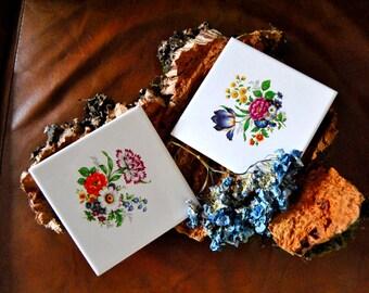 Pack 2x Portuguese flowers tiles , azulejo de flores.(6x6inch  15x15cm)