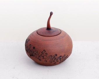 Small Round Ceramic Lidded Vessel Naked Red Clay