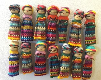 Set of 4 Guatemalan Worry Doll Magnets-Shipping Included