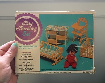 Vintage Plastic Play Nursery Set