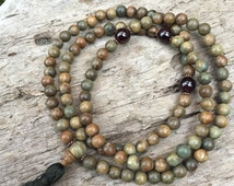 Garnet & Green Sandalwood Mala Prayer Bead Stretchy Necklace or Wrap Bracelet Meditation Yoga Beads Bicycling Buddha B059