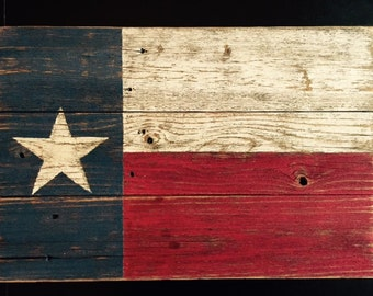 Rustic Wood Texas Flag