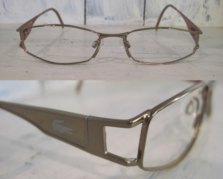 9ae76ef73ad Vintage Lacoste golden color metal full rim elegant designer eyeglasses for  women